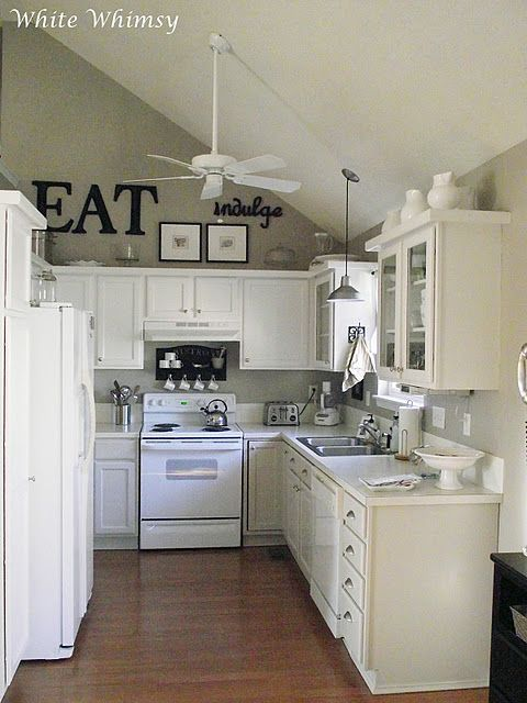love the above cabinets and thick plank on top of cabinets instead - Decorate Kitchen Cabinets