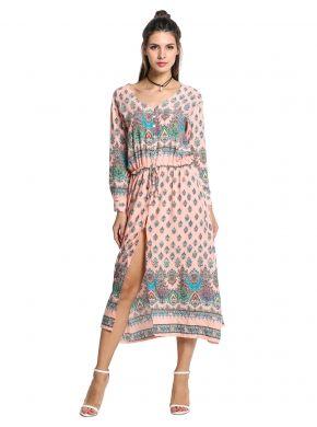 Pembe Bohem Stili V Yakalı Uzun Kollu Bel Baskı Maxi Gömlek Casual Elbiseleri