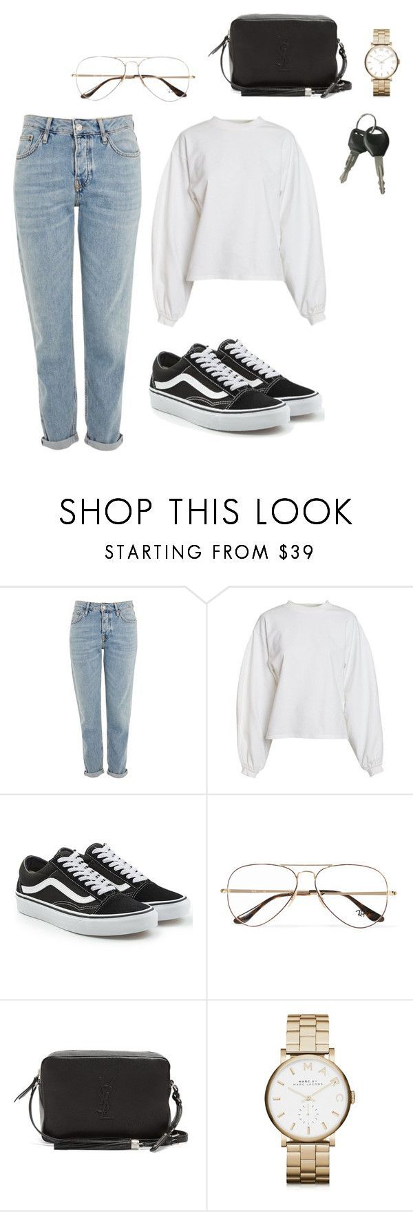 """Tues, 13th Sep."" by ilikemockingjays ❤ liked on Polyvore featuring Topshop, NLY Trend, Vans, Ray-Ban, Yves Saint Laurent and Marc by Marc Jacobs"