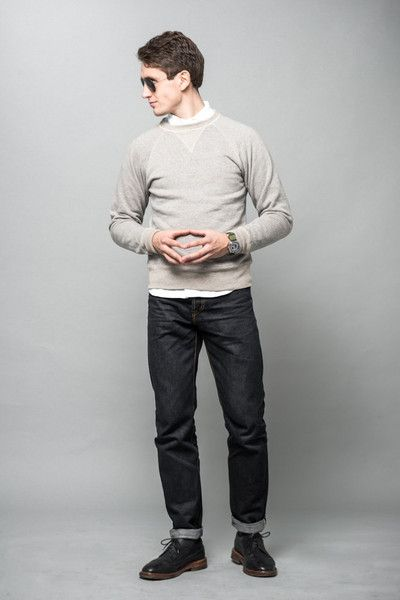 Loopwheel sweatshirt, button-down shirt and 16oz raw denim  #wardrobestables #essentials #sweatshirt #loopwheel #loopwheeled #madeinjapan #menswear #streetwear #rawdenim #selvedge #workwear #ocbd #oxfordshirt #buttondown