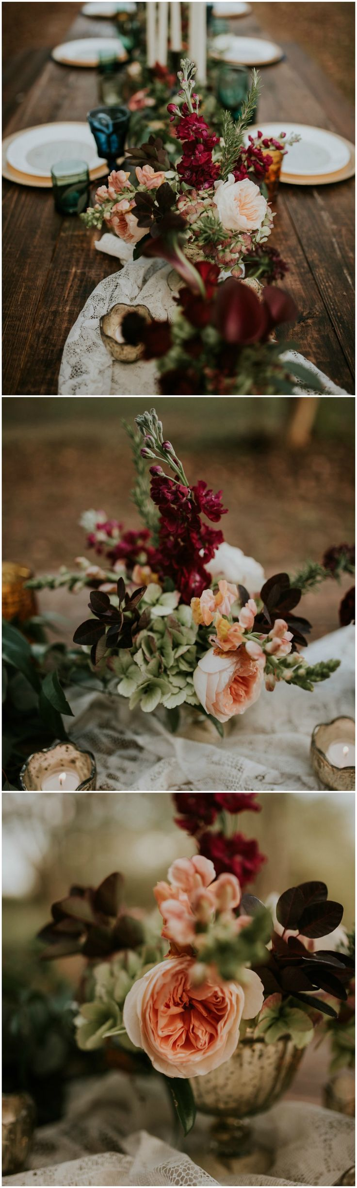 Romantic wedding reception floral centerpieces, peach and wine colored florals, white lace table runner // Moriah Elisabeth Photography