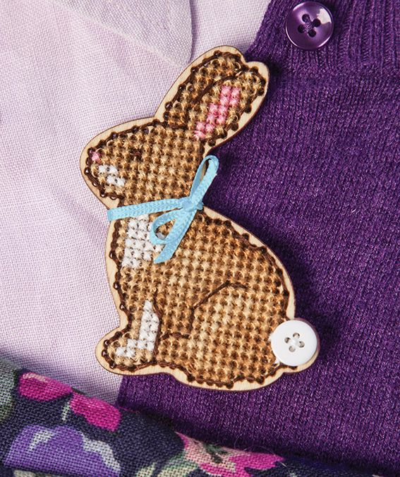 This wooden bunny brooch was the free kit featured in Cross Stitcher magazine issue 303, April 2016