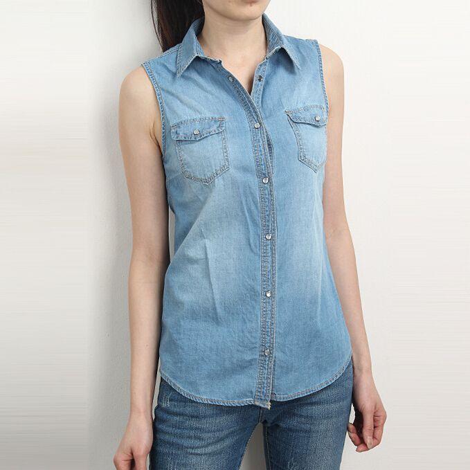 Горячая джинсовые рубашки женщины без рукавов блузка с отложным воротником блузки женские голубой Blusa топы женские футболки джинсы Blusa Feminina