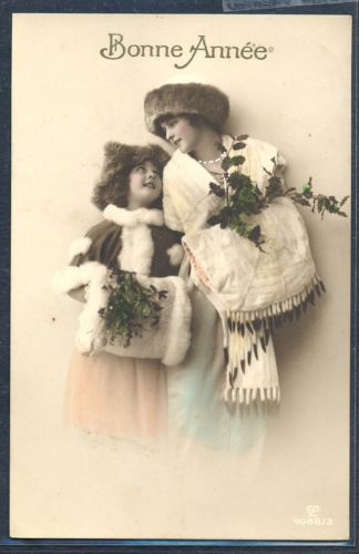 PZ062-Bonne-Annee-New-Year-MOTHER-DAUGHTER-FUR-MUFF-HAT-Tinted-PHOTO-pc