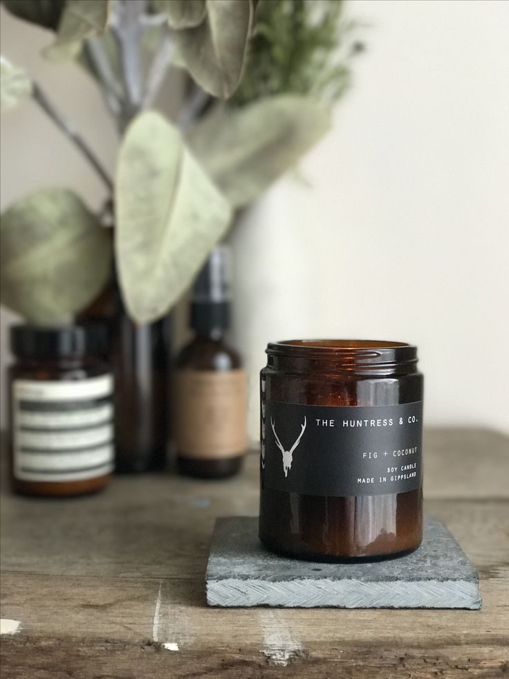 Fig + Coconut Soy Candle in Amber jar by The Huntress & Co.