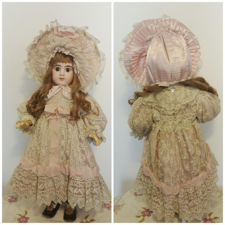 """Beautiful Dress in Old French Valenciennes Beige Lace and Antique Pink Satin in Silk suitable for Doll 26""""-28"""" size 12 Jumeau, Steiner, Bru etc"""