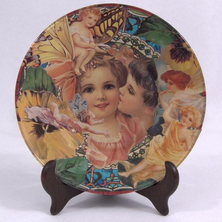 FAIRIES Boy Kissing Girl DECOUPAGE ART PLATE Hand Made One Of A Kind
