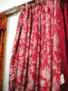 1344D Heavy Red Pink White Floral Pattern Lined Pencil Pleat Curtains. :: Full Details - £396.00