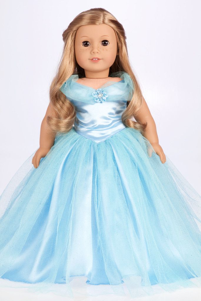 Cinderella - Clothes for 18 inch Doll - Blue Gown with Silver Slippers