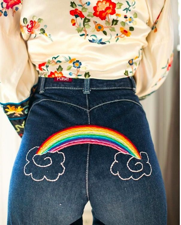 That's it. I'm starting a girl gang where we all goaround together in our Levis 501's with embroidered tattoos on our butts and hips. The inspiration behind