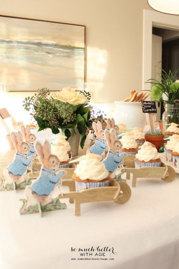 Peterson Rabbit wheelbarrow cupcake holder. So cute!