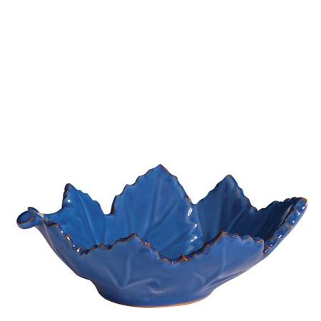 VIETRI Marina Blu Small Grape Leaf Bowl
