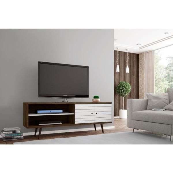Manhattan Comfort Liberty Rustic Brown And White Entertainment Center 201amc96 The Home Dep In 2020 Mid Century Modern Tv Stand Modern Tv Stand Modern Tv Stand White