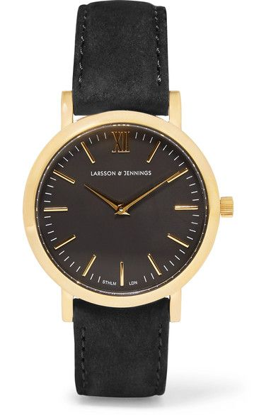 Larsson & Jennings - Lugano Suede And Gold-plated Watch - Black - One size