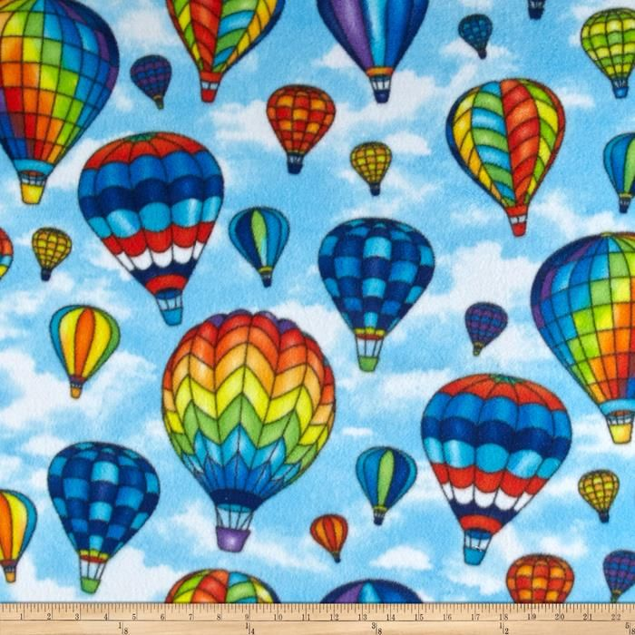 Winterfleece Hot Air Ballons Blue from @fabricdotcom  From Windham Fabrics, this double-sided, anti-pill fleece fabric is warm and cozy and has ultra soft hand. It is perfect for throws, blankets, jackets, hats, mittens, scarves, slippers, pillows, vests, pullovers and much more!