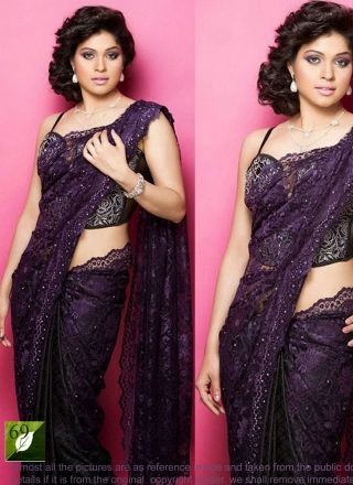 Purple Fancy Brasso Work Designer Bollywood Saree http://www.angelnx.com/Sarees/Bollywood-Sarees