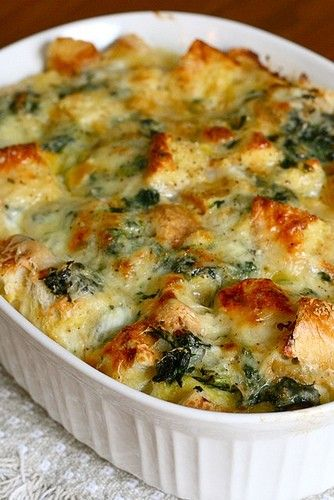 spinach and cheese strata Make sure this sits over night or for about 12 hours prior to baking for best results.