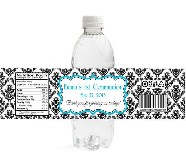 Damask First Communion Water Bottle Labels: 952 848, Damask 25 Gif 952 ...