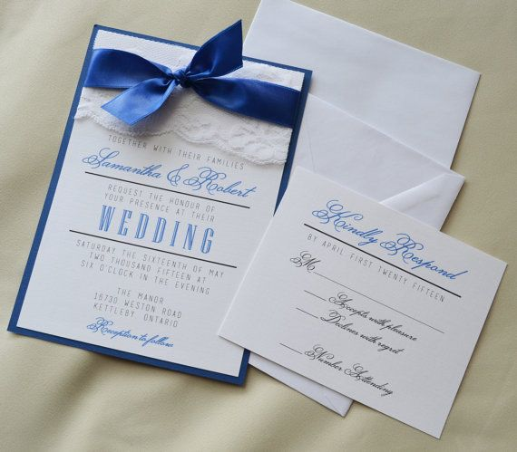 Set of 20: Royal Blue Wedding Invitation, White and Royal Blue Invitation, Lace Invitation, Panel Invitation Set with RSVP