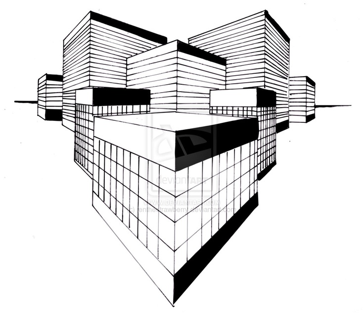 This Is A 2 Point Perspective Drawing Of Some Buildings And It Good How They Are All Different