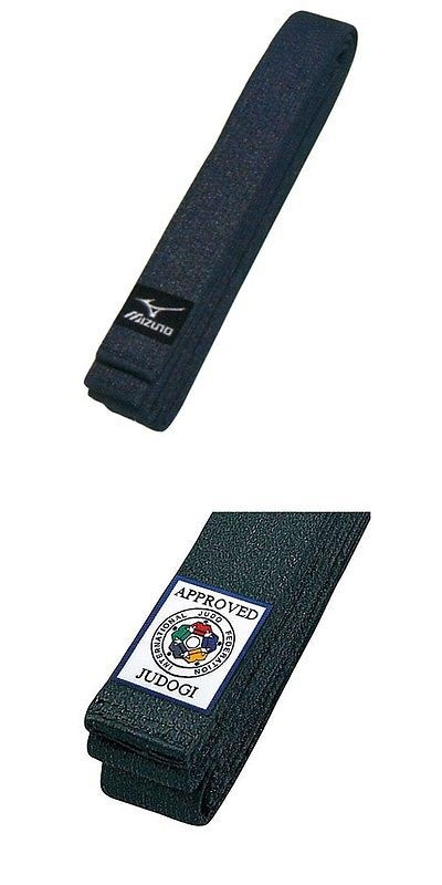 Belts and Sashes 73981: Mizuno Judo Gi Kuro Obi Black Belt With Ijf Official Patch Japan BUY IT NOW ONLY: $51.0