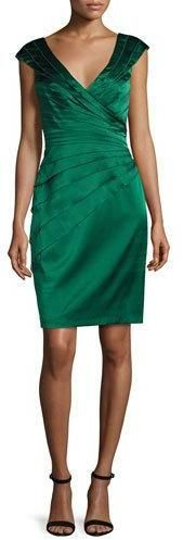 Kay Unger New York Cap-Sleeve Tiered Stretch Satin Cocktail Dress, Ivy