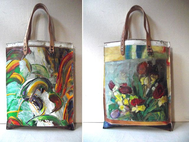 Recycle canvas paintings into handbags.  Love!!!  No instructions, picture only.