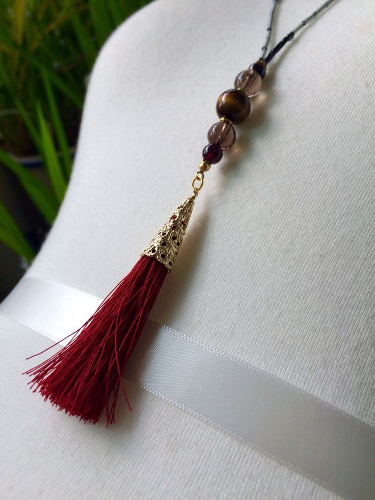 red tassel necklace / Golden tiger's eye / Smoky quartz / Garnet / by So.