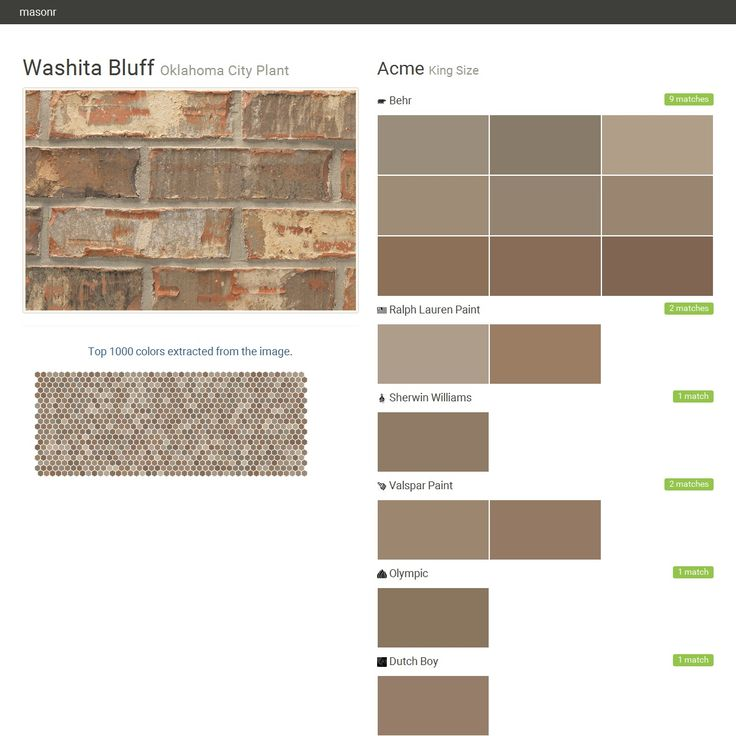 Washita Bluff. Oklahoma City Plant. King Size. Acme. Behr. Ralph Lauren Paint. Sherwin Williams. Valspar Paint. Olympic. Dutch Boy.  Click the gray Visit button to see the matching paint names.