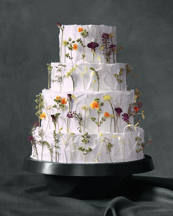 On this four-tiered beauty, pea shoots, fennel and cilantro blossoms, bachelor's…
