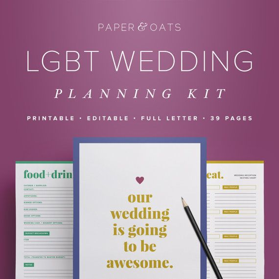 LGBT Wedding Planning Kit  Editable Wedding To Do by paperandoats