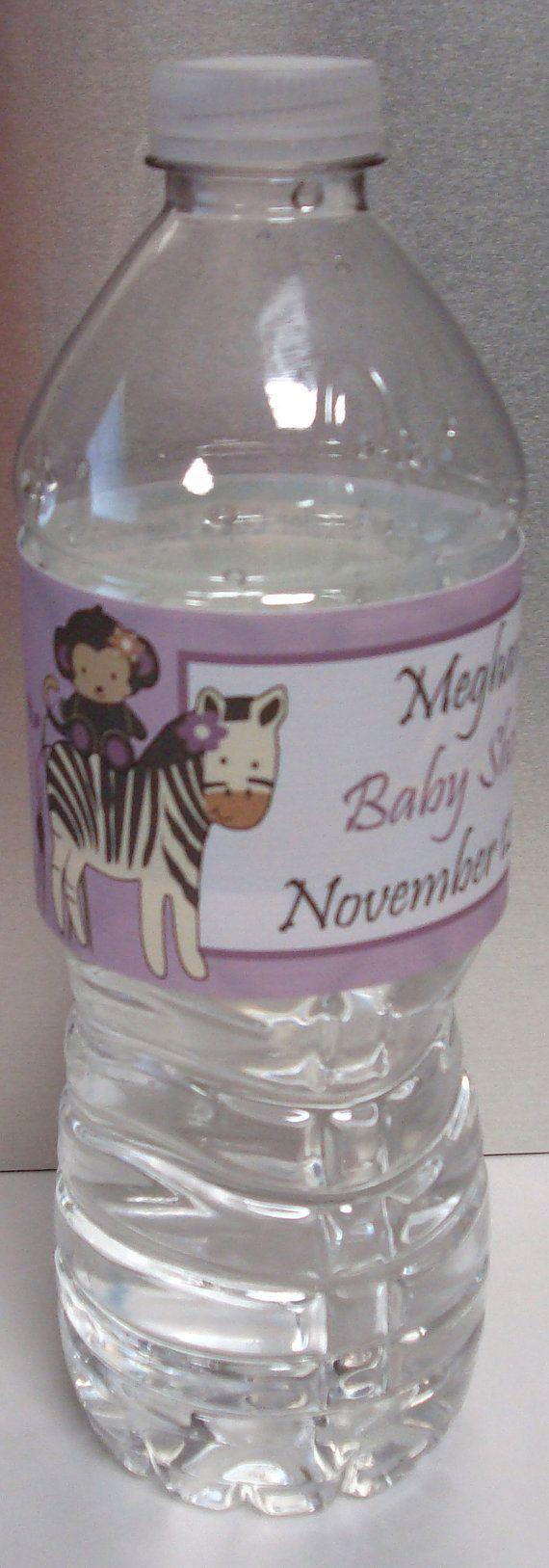 purple zebra baby shower ideas for girls | Girl Baby Shower Water Bottle Labels - Pretty Purple ... http://www.bottleyourbrand.com/water-bottle-labels