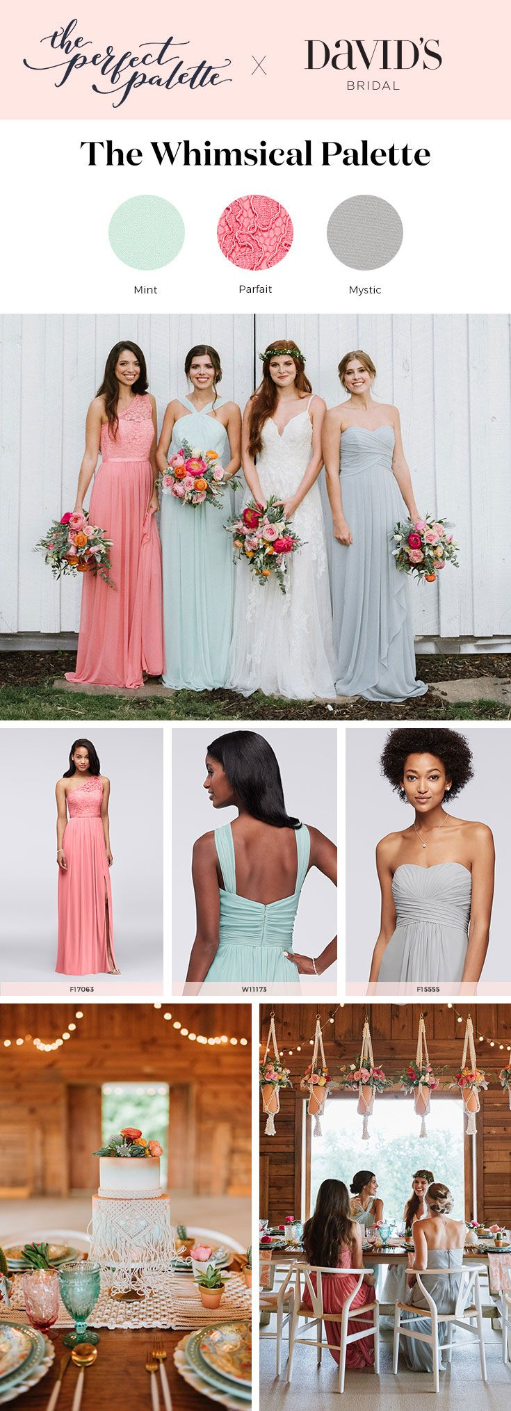 Wedding palette idea: whimsical sorbet shades like mint, mystic, and parfait. At David's Bridal, it's easy to coordinate your whole wedding da...