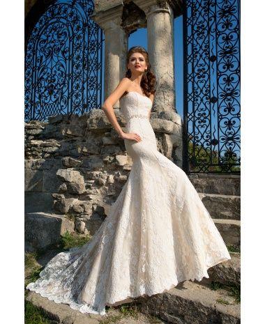 ENID - luxusné dlhé krémové čipkové svadobné šaty morská panna zdobené kamienkovým opaskom