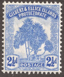 "1911 Scott 11 2 1/2p ultramarine ""Pandanus"" Quick History The Micronesian Gilbert Islands and the Polynesian Ellice Islands, located in the Pacific Ocean between Hawaii and Australia, began as a protectorate in 1892, and then a British colony from 1916 until 1976. Thereafter the Gilbert Islands became the majority of the island nation of Kiribati (pronounced ""Kirr-i-bas"") in 1979, while the Ellice Islands were renamed Tuvalu in 1978. Both are currently members of the Commonwealth of Nations."