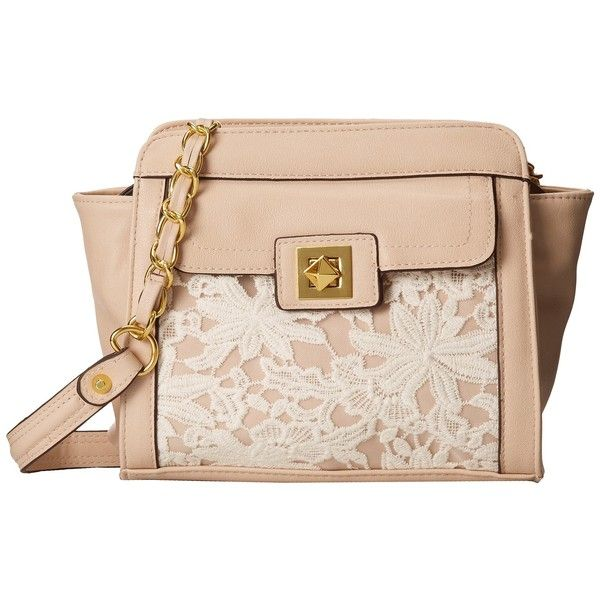 Jessica Simpson Logan Satchel ($74) ❤ liked on Polyvore featuring bags, handbags, purses, accessories, lace, chain strap purse, satchel handbags, chain strap handbag, chain purse and pink hand bags