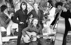 Crosby, Stills, Nash & Young with (on far L) Dallas Taylor (who drummed for them on  Déjà Vu and (on far R) Greg Reeves (who played bass for them on  Déjà Vu) - 1970
