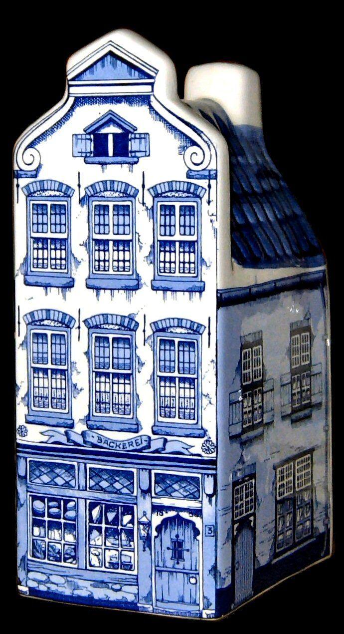 Delft blue figural minibottle: old Dutch canal house #Delft #Netherlands