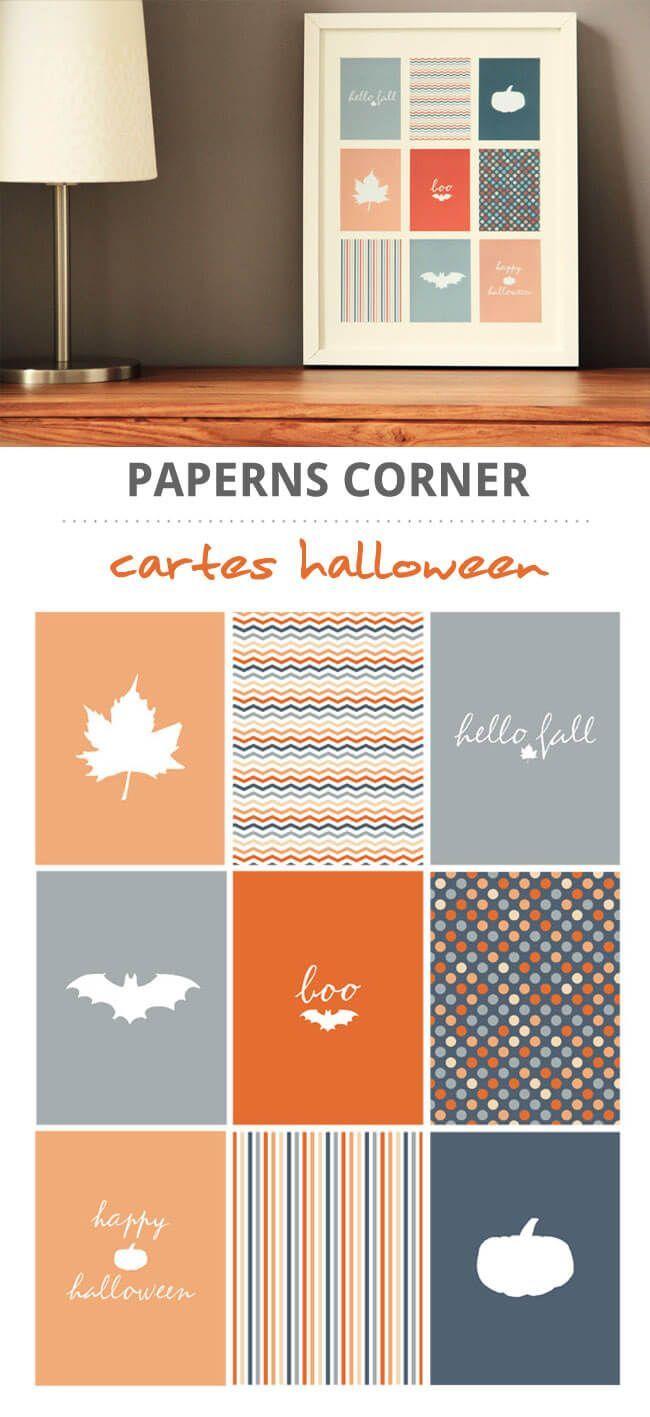 9 cartes clean & simple, sur le thème d'halloween, format project life, à imprimer pour créer un cadre d'halloween ou à utiliser au format digital dans vos pages de digiscrap