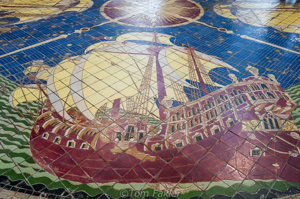 The mosaic flooring of Il Padiglione feature galleons in full sail. #artdeco #castrocaroterme #termecastrocaro