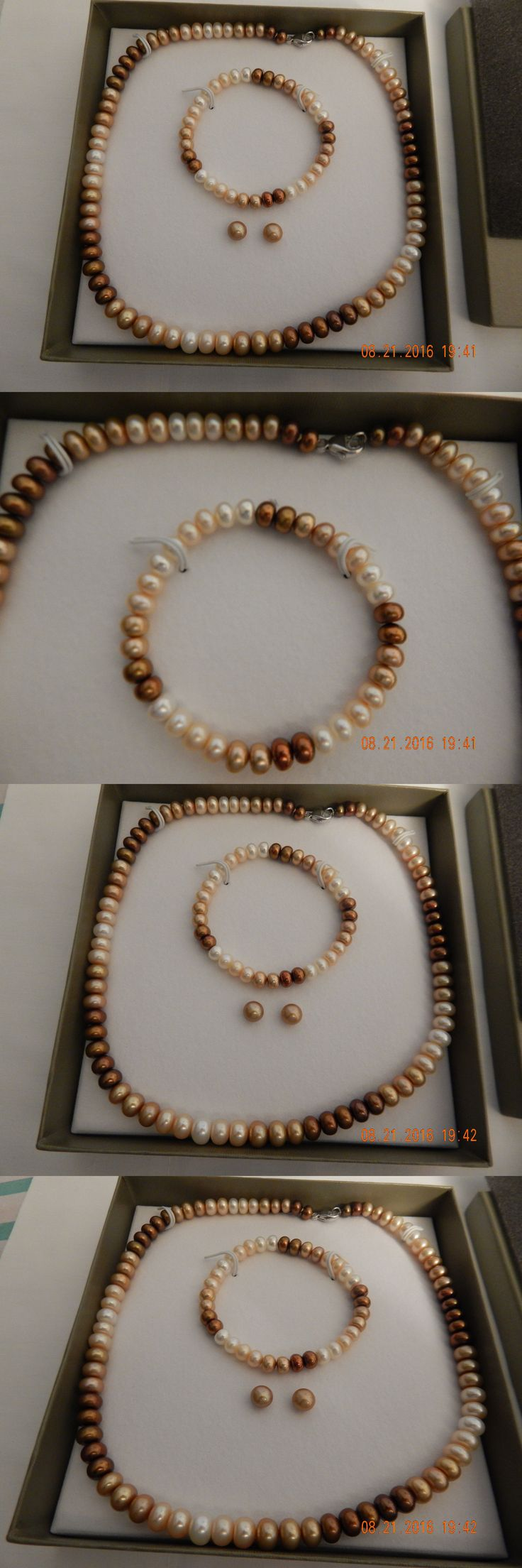 Pearl 164327: Honora 7-8Mm Brown Ombre Rondel Pearl Set From Qvc!! -> BUY IT NOW ONLY: $46 on eBay!