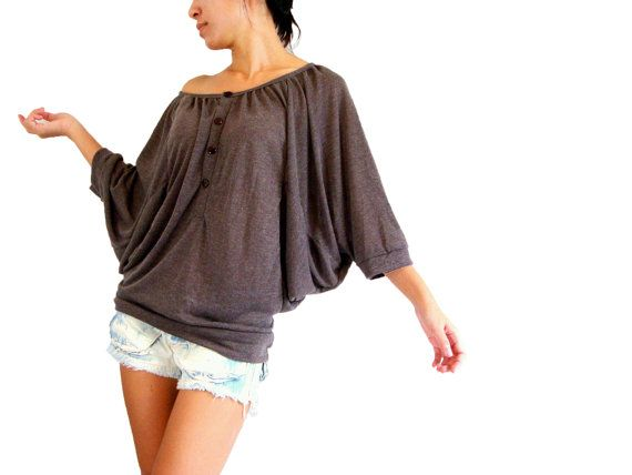 Oversized tee - off shoulder batwing t shirt - dark brown tee / Oversized Top / brown blouse / Casual Women Comfy tshirt / chocolate brown on Etsy, $33.00