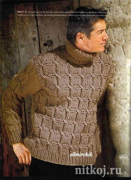 Как связать мужские комбинированные свитера с воротом модели