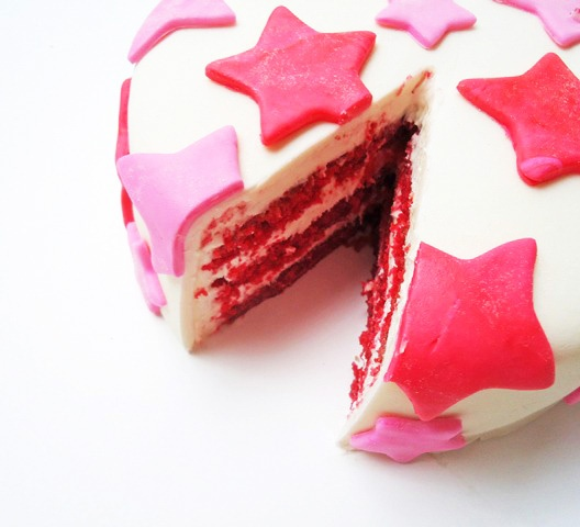 Red Velvet Fondant Cake - if you added blue stars, too, this would be terrific for the 4th of July. #red #velvet #cake #food
