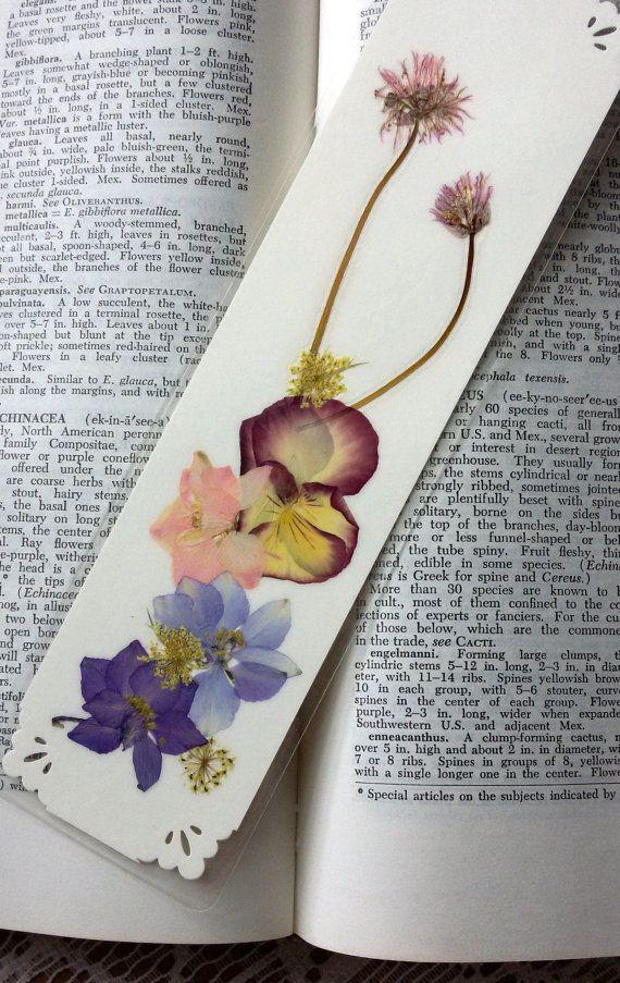 PRESSED FLOWER BOOKMARK  Preserved Natural by MyHumbleJumble