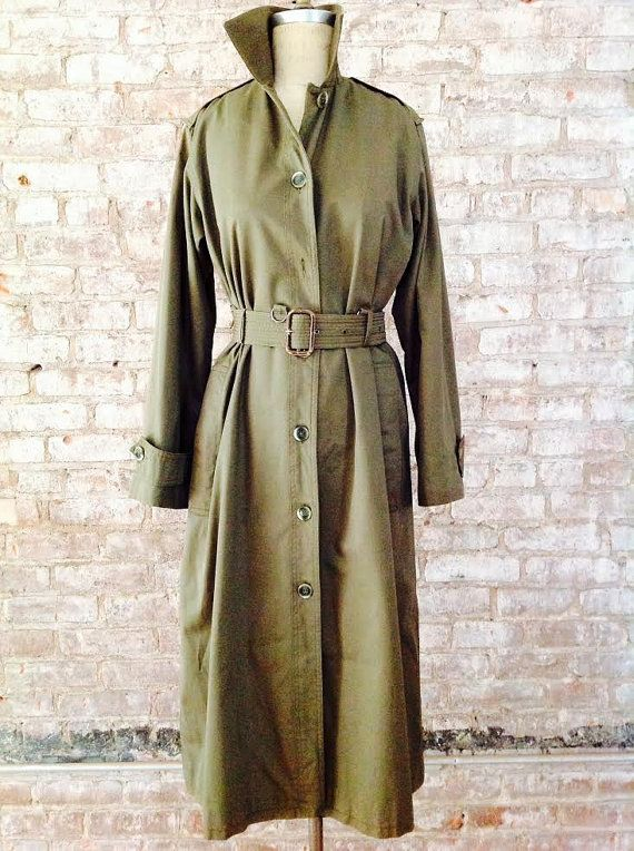 YSL1970's Saint Laurent Rive Gauche safari collection military khaki trench dress ICONIC!