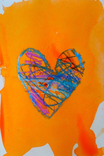 Jim Dine heart: tape stencil over paper, color heart with oil pastels, remove stencil and watercolor paper