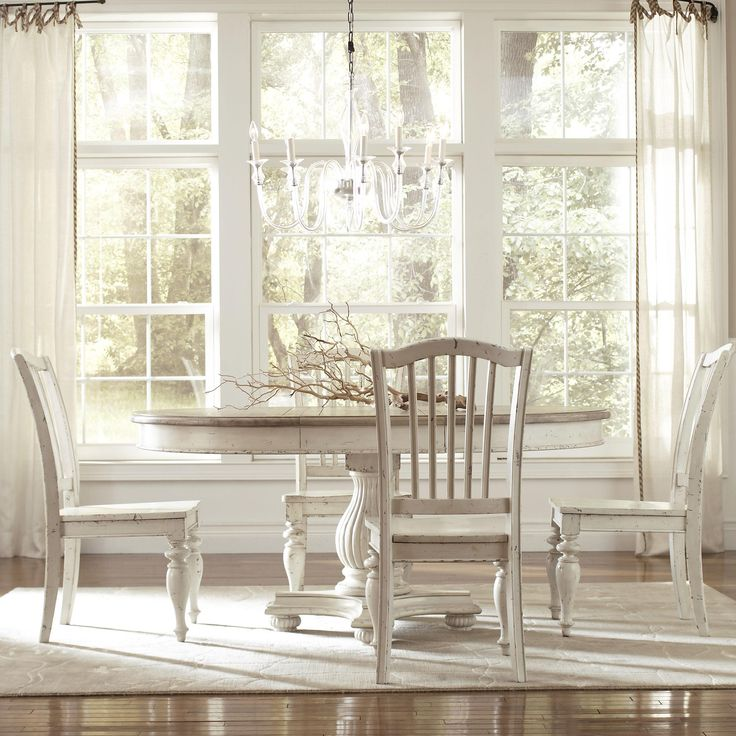 """Riverside Furniture Coventry Two Tone Round Pedestal Dining Table with 18"""" Leaf - Hudson's Furniture - Dining Room Table Tampa, St Petersburg, Orlando, Ormond Beach"""