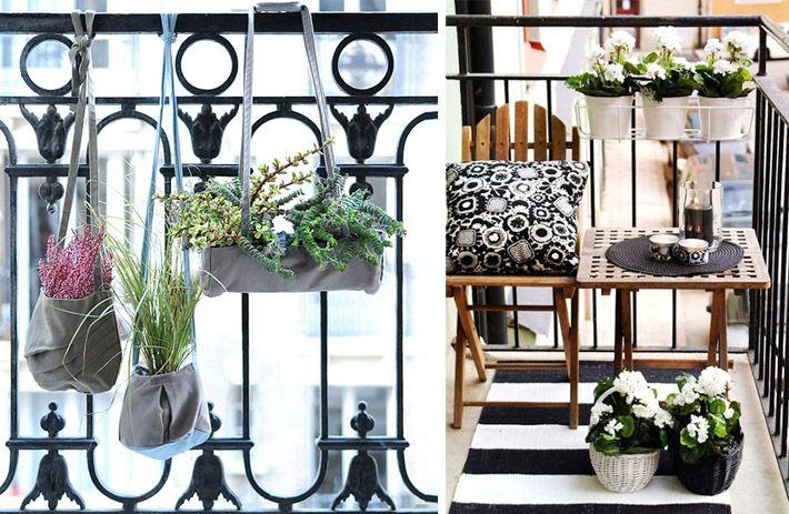 Decoração: varandas de apartamentos | Comprando Meu Apê Se você gosta de plantas mas tem pouco espaço, deixar as plantinhas em pequenos vasos suspensos no teto, na parede ou na própria grade da varanda são ótimas ideias!