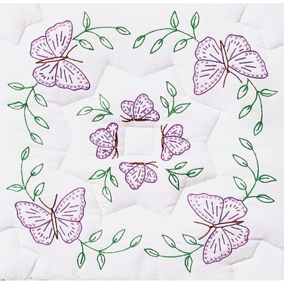 """Stamped White Quilt Blocks 18""""X18"""" 6/Pkg- Circle Of Butterflies"""